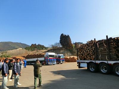 きのこ用原木供給支援出発式
